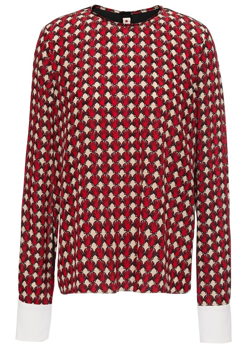 Marni Woman Printed Silk Crepe De Chine Top Red