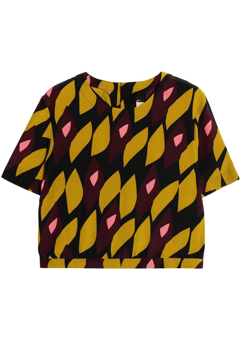Marni Woman Printed Silk Crepe De Chine Top Saffron