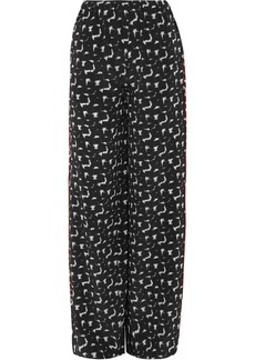 Marni Woman Printed Silk Crepe De Chine Wide-leg Pants Black