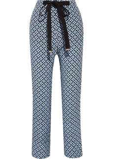 Marni Woman Printed Silk Crepe De Chine Wide-leg Pants Blue