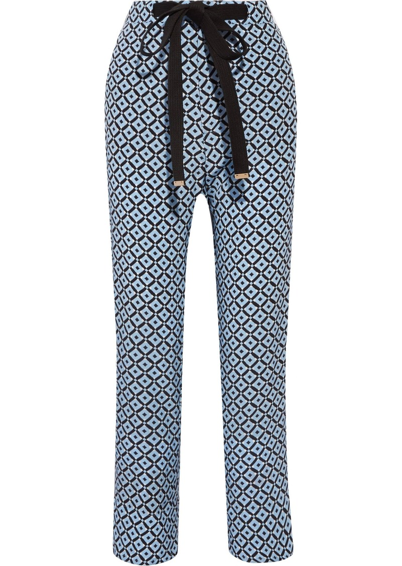 Marni Woman Printed Silk Crepe De Chine Wide-leg Pants Blue