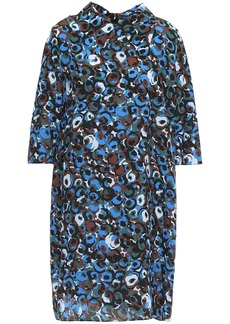 Marni Woman Printed Silk-crepe Mini Dress Blue