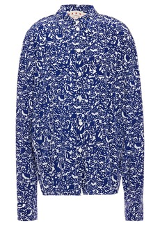Marni Woman Printed Silk-crepe Shirt Indigo