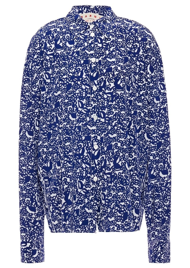 Marni Woman Printed Silk-crepe Shirt Indigo