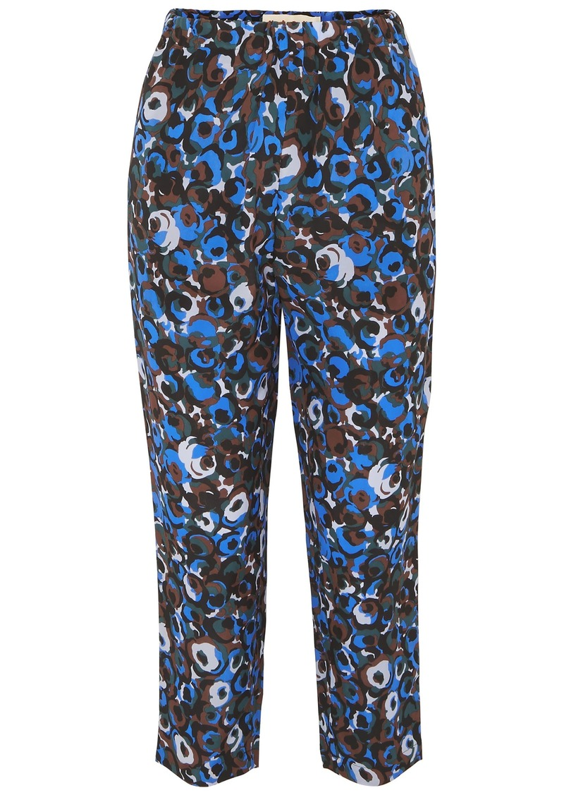 Marni Woman Printed Silk-crepe Slim-leg Pants Multicolor