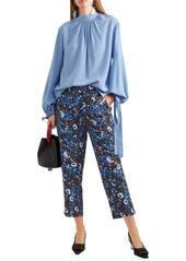 Marni Woman Printed Silk-crepe Slim-leg Pants Multicolor
