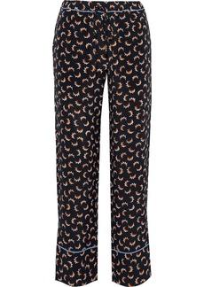 Marni Woman Printed Silk-crepe Wide-leg Pants Black