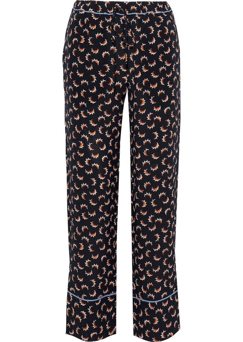 Marni Woman Printed Silk-crepe Wide-leg Pants Black