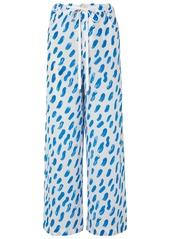 Marni Woman Printed Silk-georgette Wide-leg Pants Cobalt Blue