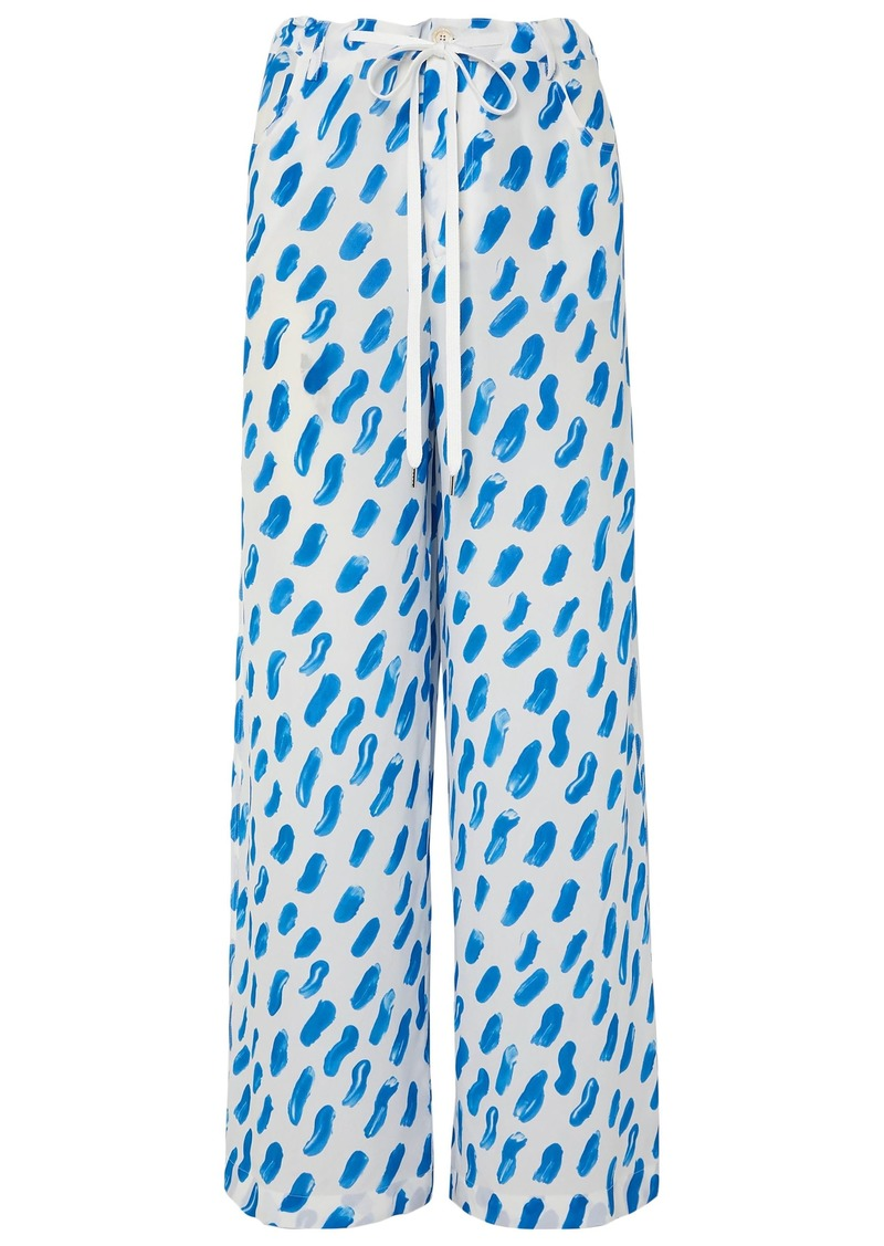 Marni Woman Printed Silk-georgette Wide-leg Pants Cobalt Blue