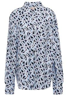 Marni Woman Printed Silk-twill Shirt Light Blue