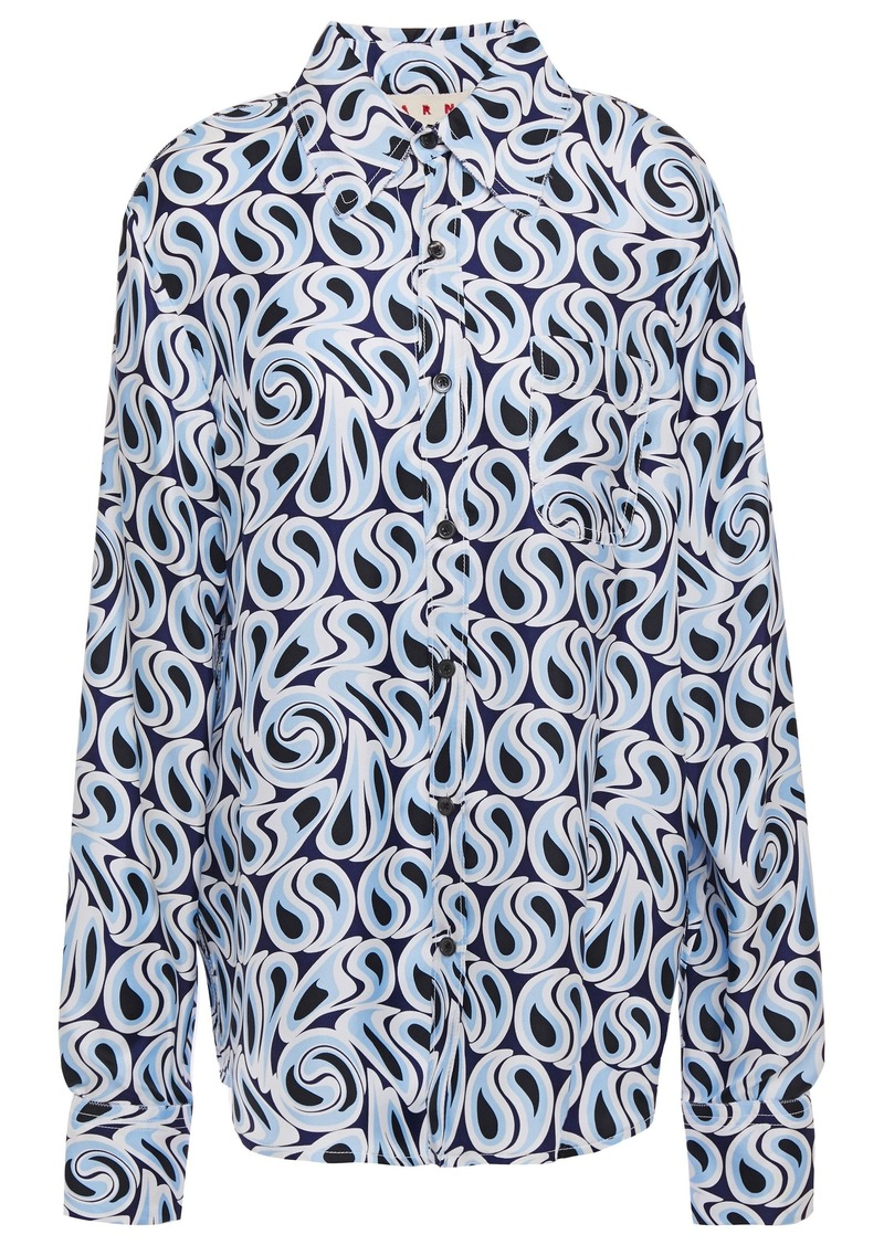 Marni Woman Printed Silk-twill Shirt Light Blue