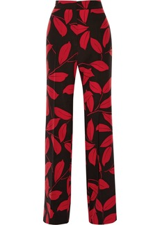 Marni Woman Printed Silk Wide-leg Pants Black