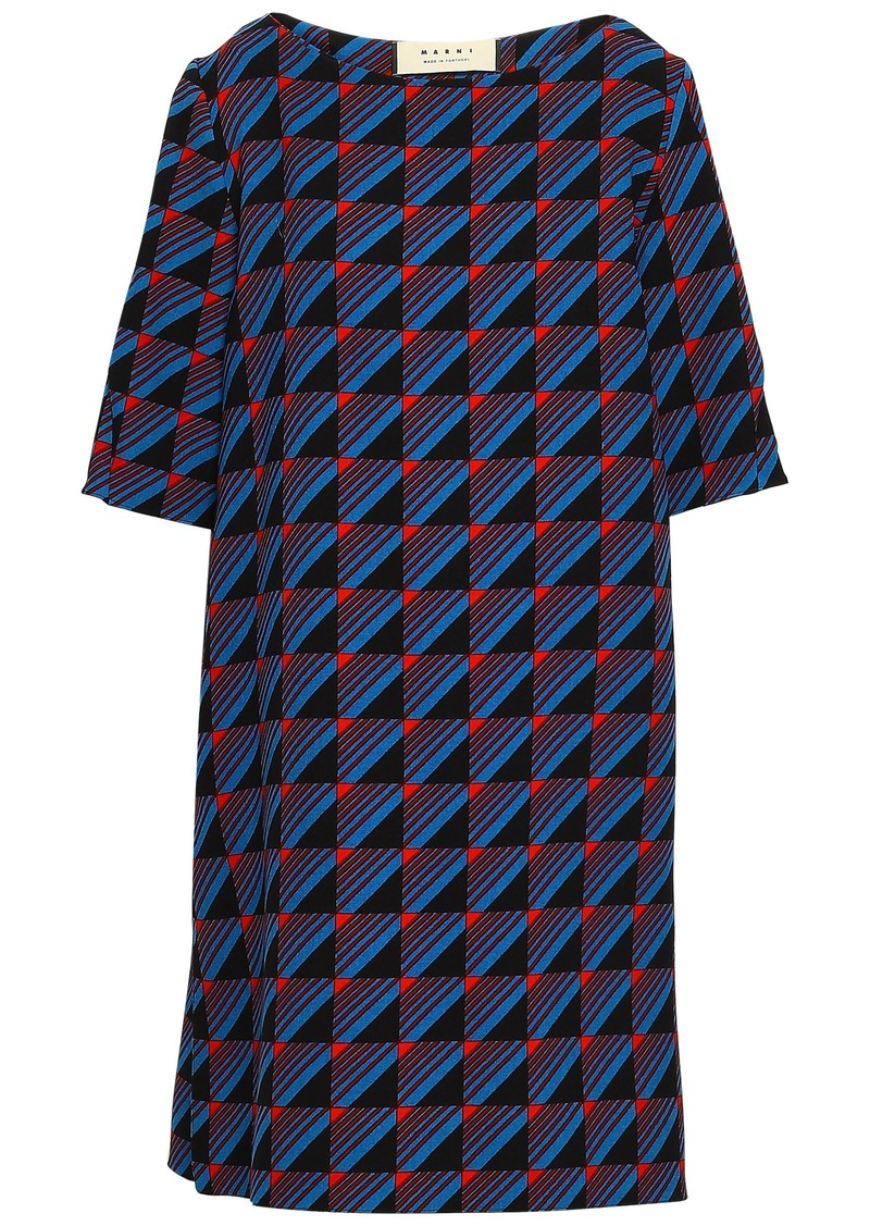 Marni Woman Printed Wool-crepe Mini Dress Cobalt Blue