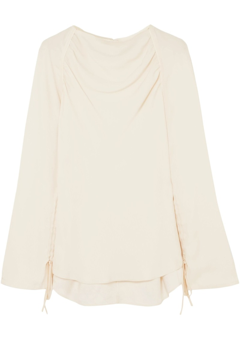 Marni Woman Ruched Crepe Blouse Ecru