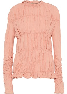 Marni Woman Ruched Crinkled Crepe De Chine Blouse Blush
