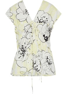 Marni Woman Ruched Floral-print Cotton-poplin Peplum Top Pastel Yellow