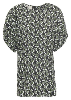 Marni Woman Ruched Floral-print Crepe Blouse Black