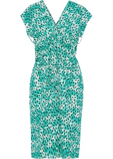 Marni Woman Ruched Printed Cotton-poplin Dress Jade