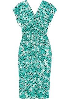 Marni Woman Ruched Printed Cotton-poplin Dress Jade