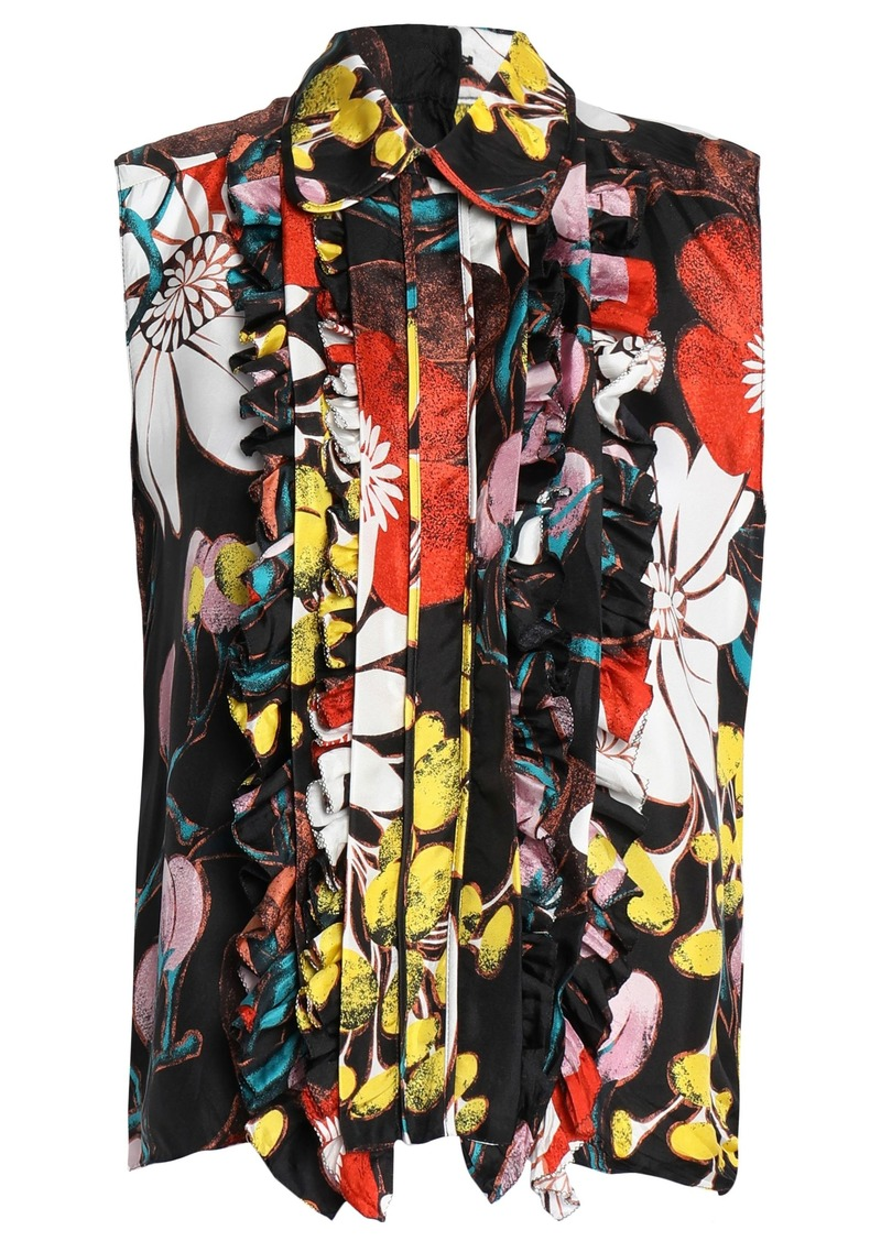 Marni Woman Ruffle-trimmed Floral-print Silk-twill Blouse Multicolor