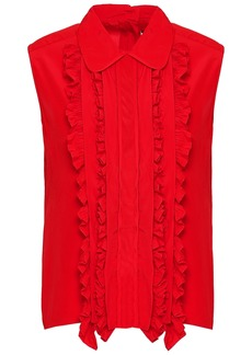 Marni Woman Ruffle-trimmed Pintucked Crepe De Chine Top Red