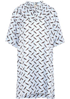 Marni Woman Ruffle-trimmed Printed Silk-twill Mini Dress Sky Blue
