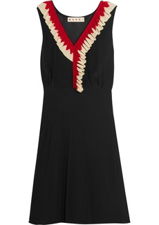 Marni Woman Ruffle-trimmed Silk-crepe Dress Black