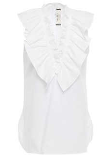 Marni Woman Ruffled Cotton-poplin Blouse White