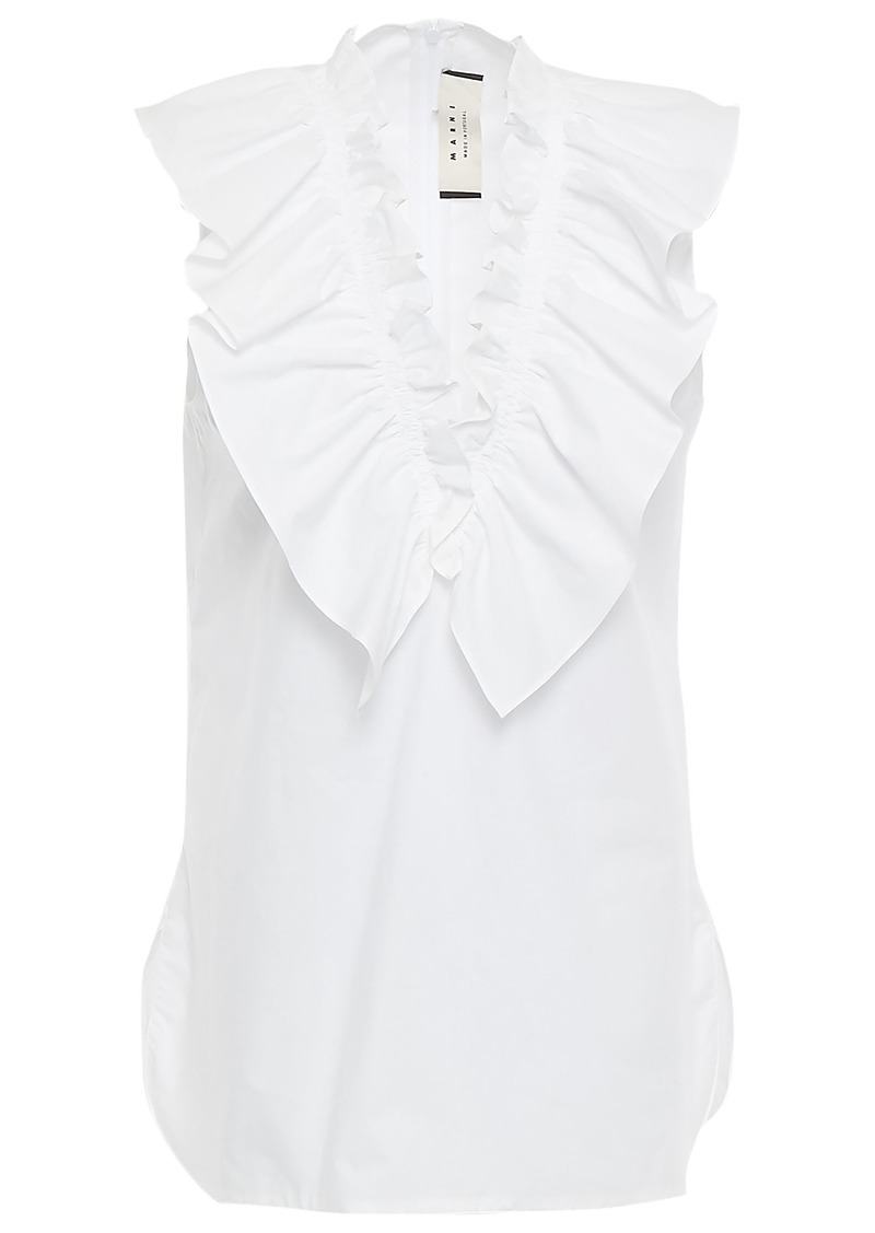 Marni Woman Ruffled Cotton-poplin Blouse White