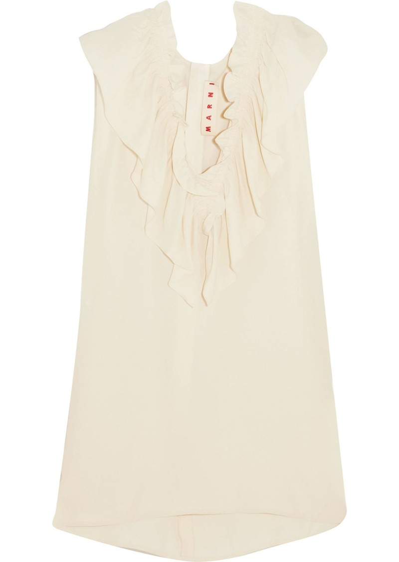 Marni Woman Ruffled Crepe De Chine Top Beige