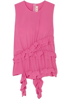 Marni Woman Ruffled Crepe De Chine Top Pink