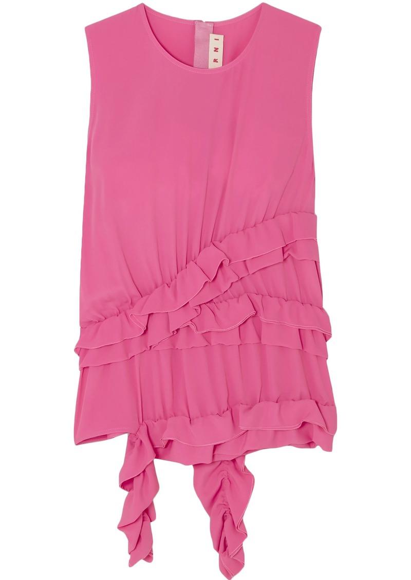 Marni Woman Ruffled Crepe De Chine Top Pink
