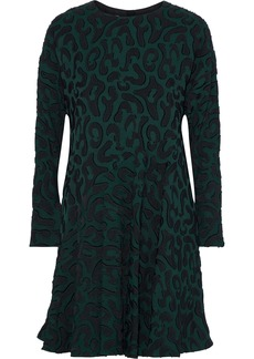 Marni Woman Ruffled Fil Coupé Crepe Mini Dress Forest Green