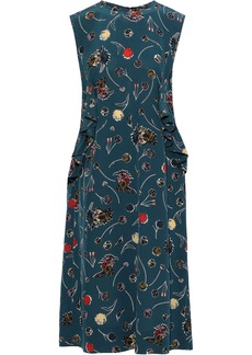 Marni Woman Ruffled Floral-print Silk Crepe De Chine Dress Petrol