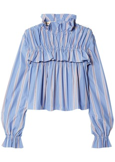 Marni Woman Ruffled Striped Cotton-poplin Top Light Blue