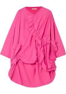 Marni Woman Ruffled-trimmed Ruched Cotton-jersey Top Fuchsia