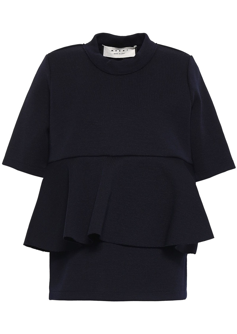 Marni Woman Ruffled Wool-blend Top Midnight Blue