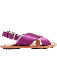 Marni Woman Samsy Mirrored Leather-trimmed Satin Slingback Sandals Magenta