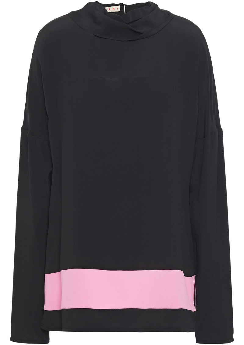 Marni Woman Satin Crepe-trimmed Draped Crepe De Chine Top Black
