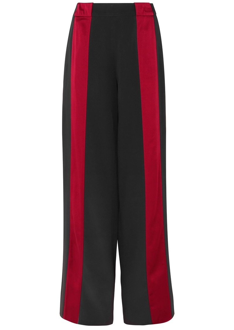 Marni Woman Satin-trimmed Crepe Wide-leg Pants Black