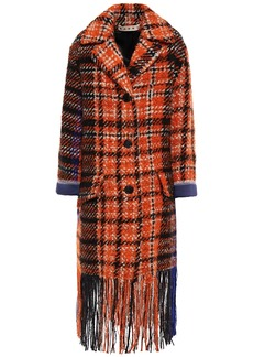 Marni Woman Satin-trimmed Fringed Checked Wool-blend Bouclé-tweed Coat Orange