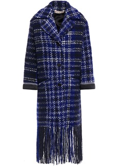 Marni Woman Satin-trimmed Fringed Checked Wool-blend Bouclé-tweed Coat Royal Blue