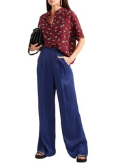 Marni Woman Satin-twill Wide-leg Pants Indigo