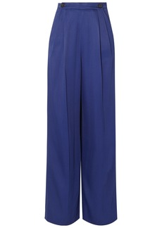 Marni Woman Satin-twill Wide-leg Pants Indigo