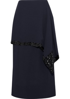 Marni Woman Sequin-embellished Layered Crepe Skirt Midnight Blue