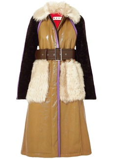 Marni Woman Shearling-paneled Crinkled Patent-leather Coat Camel