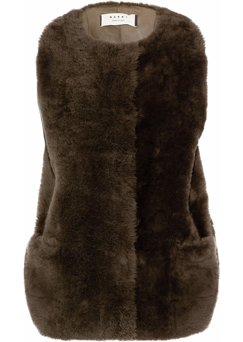 Marni Woman Shearling Vest Chocolate