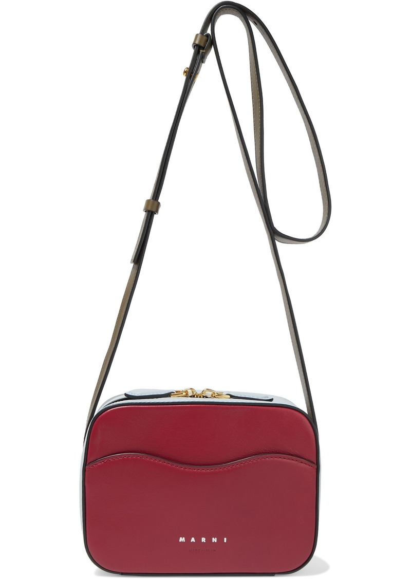 Marni Woman Shell Color-block Leather Shoulder Bag Red