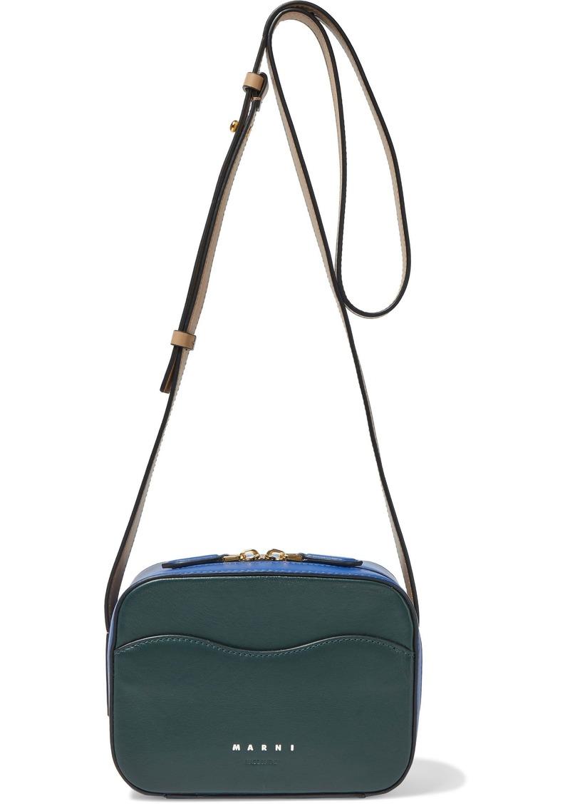 Marni Woman Shell Color-block Leather Shoulder Bag Navy